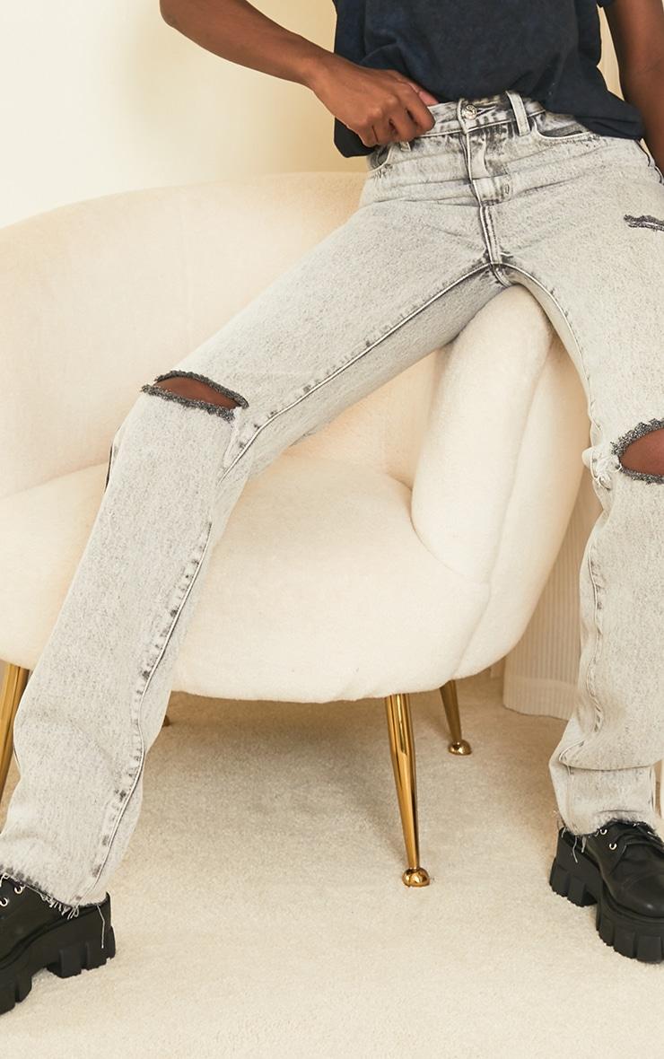 PRETTYLITTLETHING Tall Grey Acid Wash Distressed Long Leg Straight Jeans 4