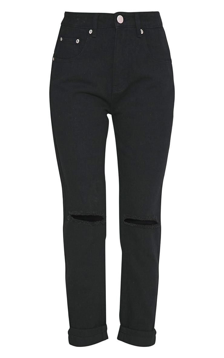 Black Knee Rip Mom Jean 3