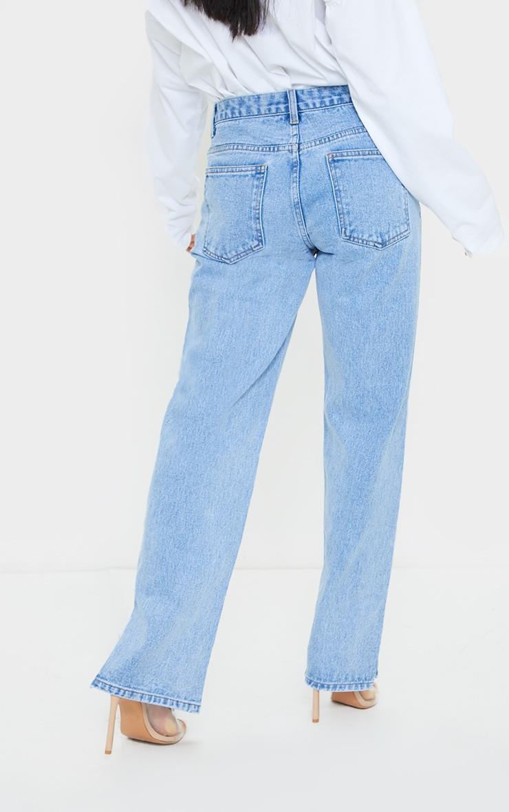 Petite Light Blue Low Rise Split Hem Jeans 3