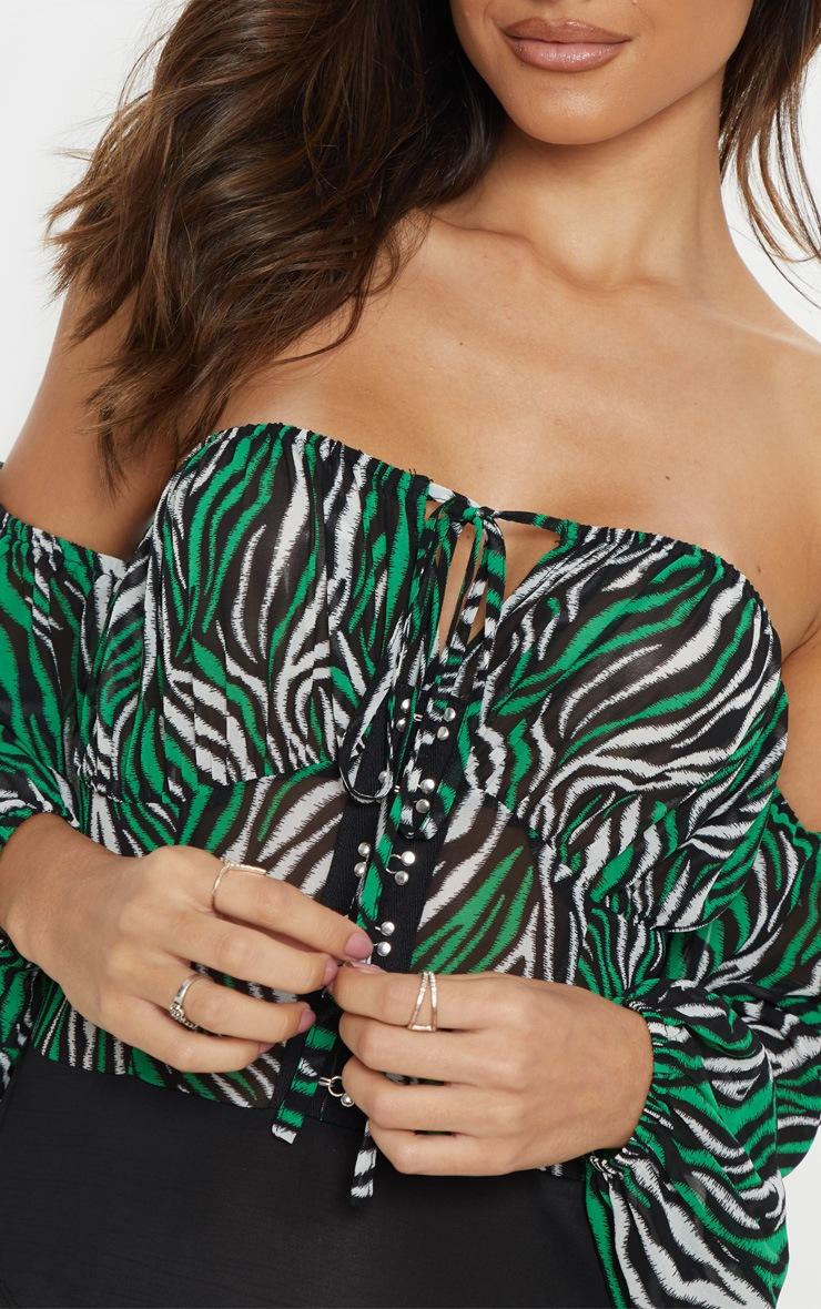Green Zebra Hook & Eye Bardot Long Sleeve Bodysuit 5