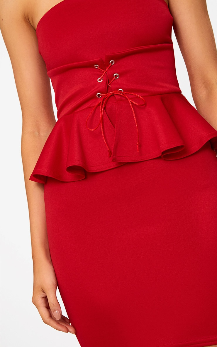 Red Corset Detail Peplum Bodycon Dress 4