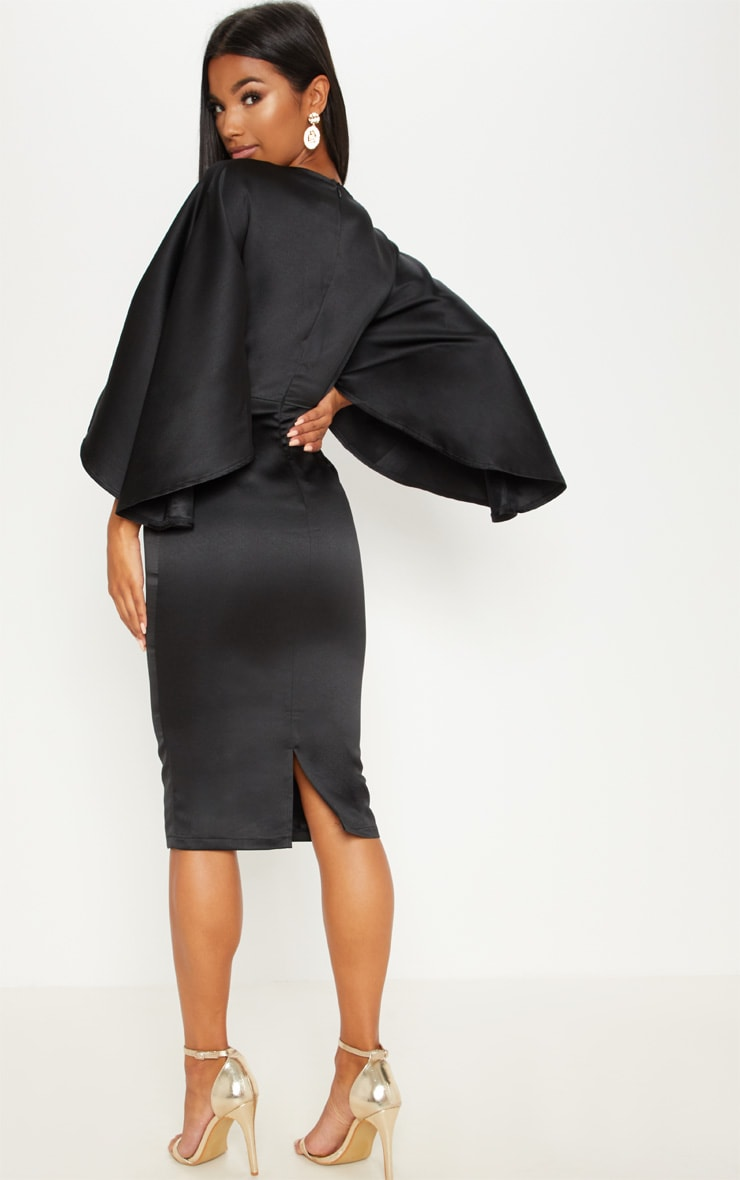Black Satin Structured Cape Midi Dress 2