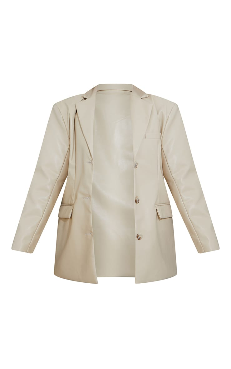Beige Premium Faux Leather Shoulder Padded Grandad Blazer 5