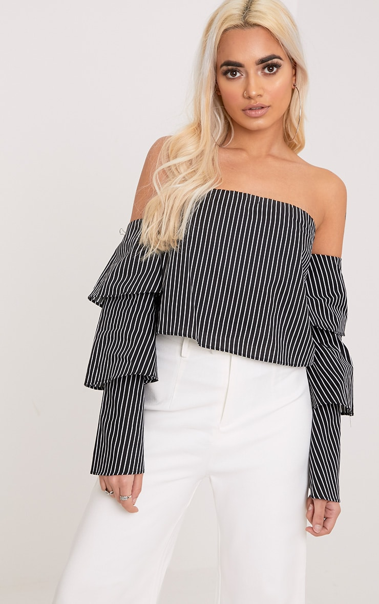 Caitie Black Stripe Ruffle Sleeve Bardot Shirt 1