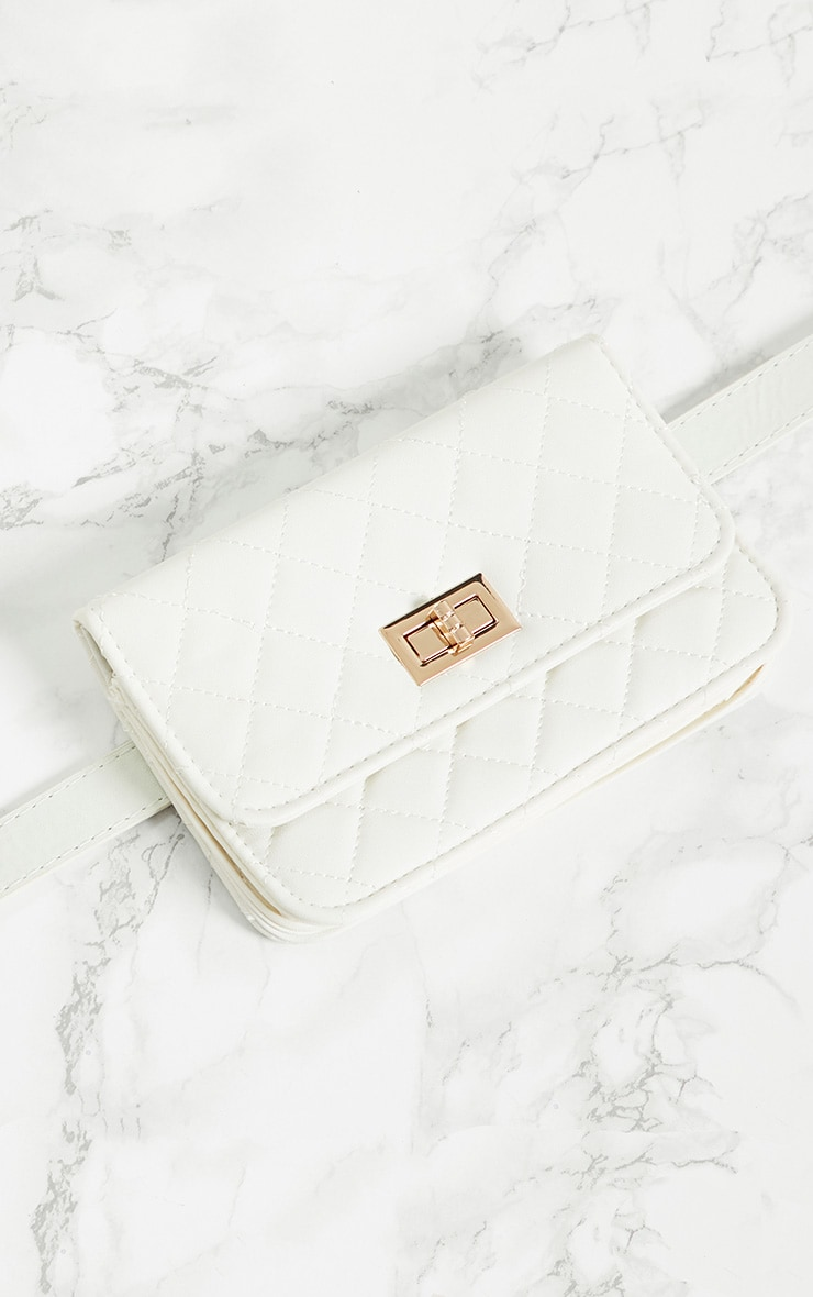 White Quilted Bum Bag 4