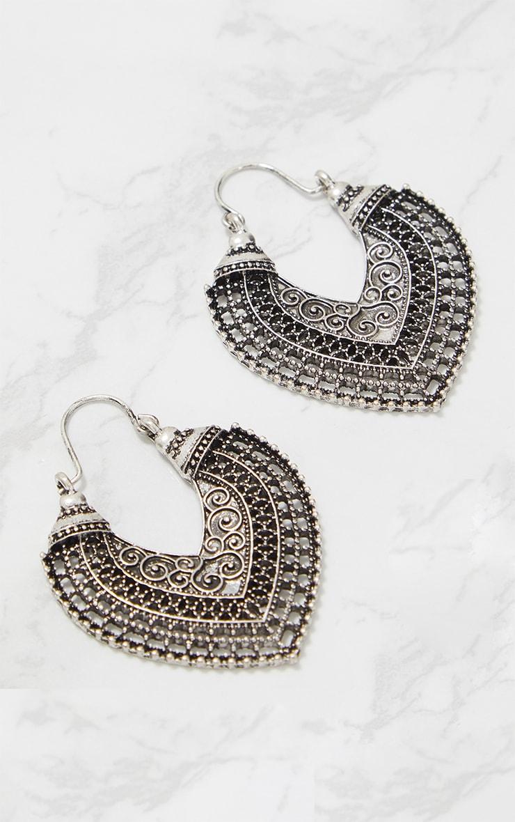 Silver Boho Detail Curve Hoop Earrings 4