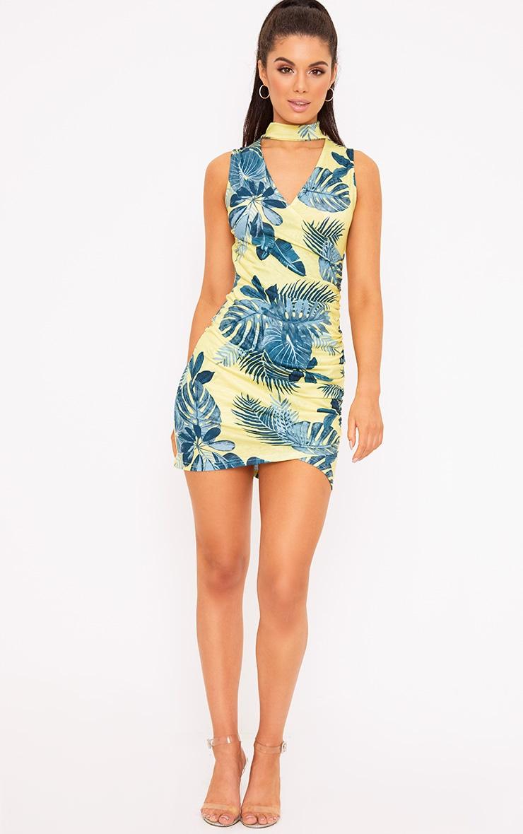 Yellow Tropical Print Choker Detail Ruched Bodycon Dress 4