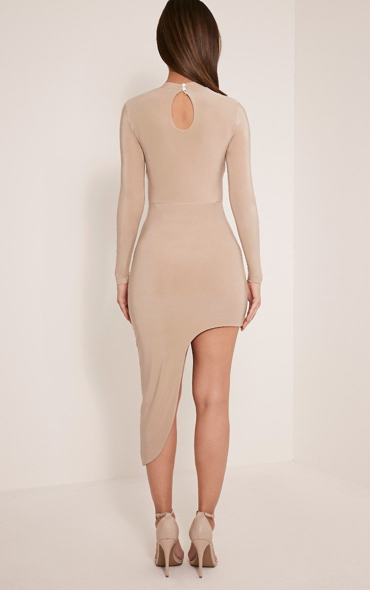 Avia Nude Cut Out Asymmetric Midi Dress 2