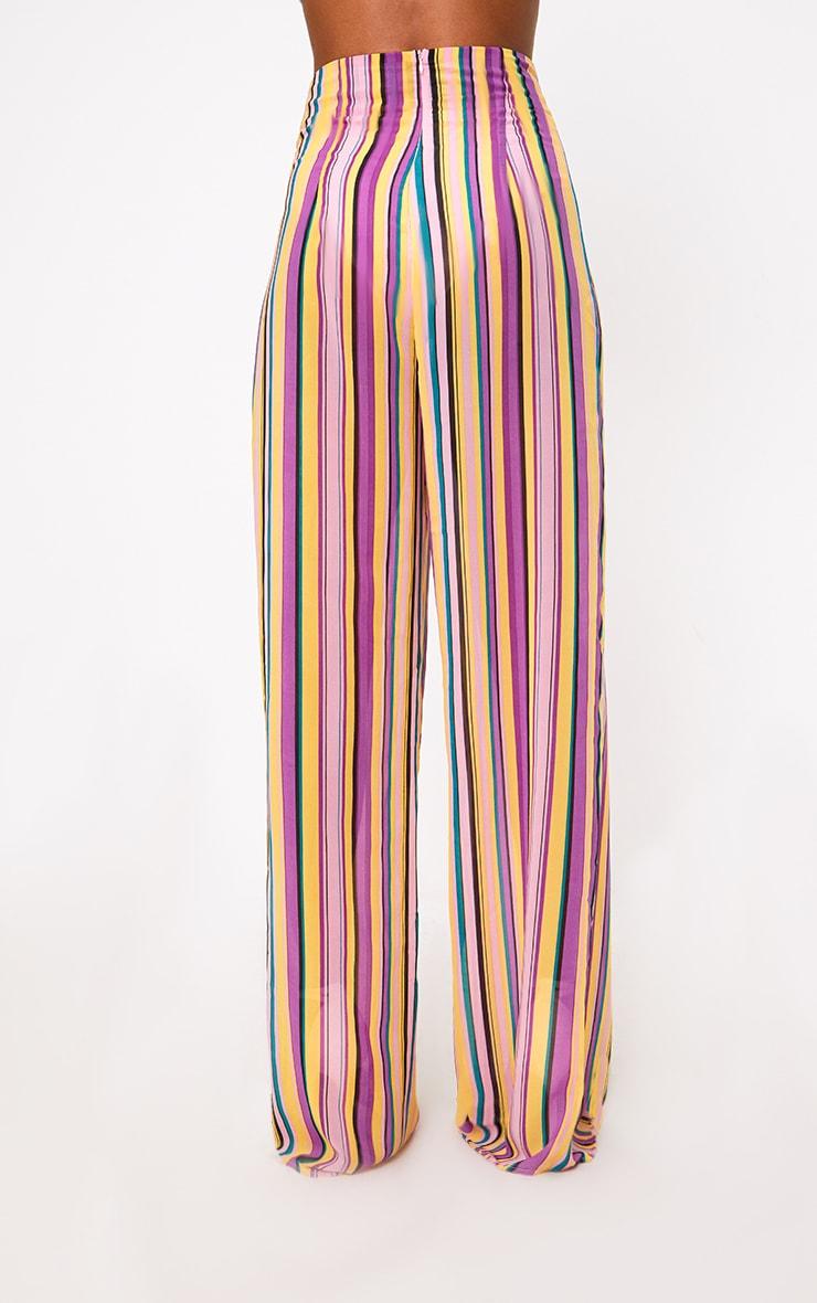 Pink Chiffon Stripe High Waisted Wide Leg Trousers 4
