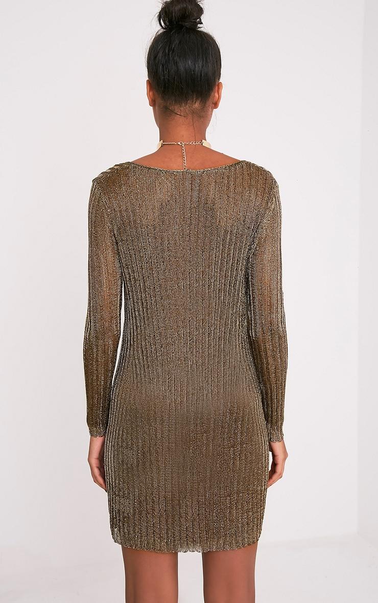 Abionae robe pull à col en V tricotée dorée métallisée 2