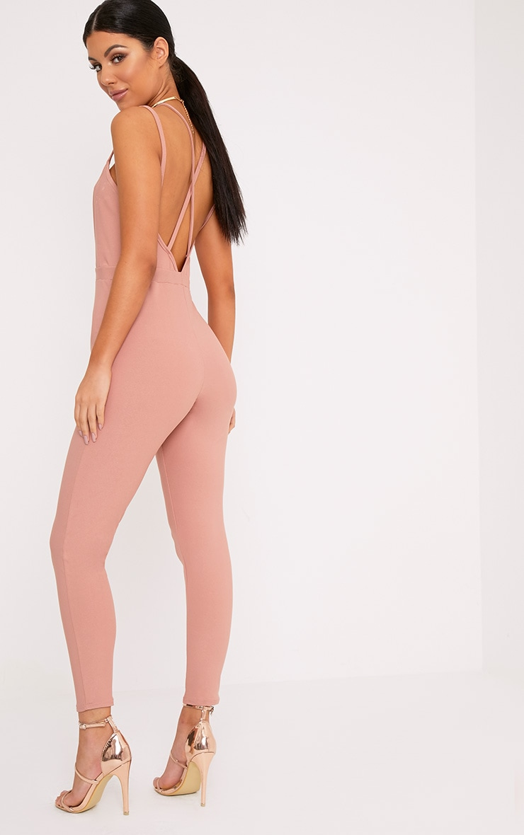Fenna Dusty Coral Harness Crepe Jumpsuit  2
