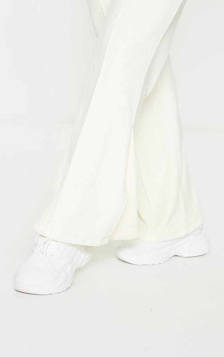 Petite Cream Velour Seam Detail Wide Leg Joggers 4