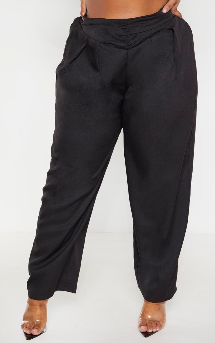 Plus Black Ruched Waist Pants 2