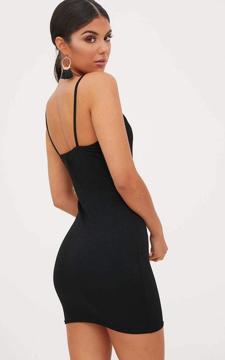 Black Square Neck Spaghetti Strap Bodycon Dress 2