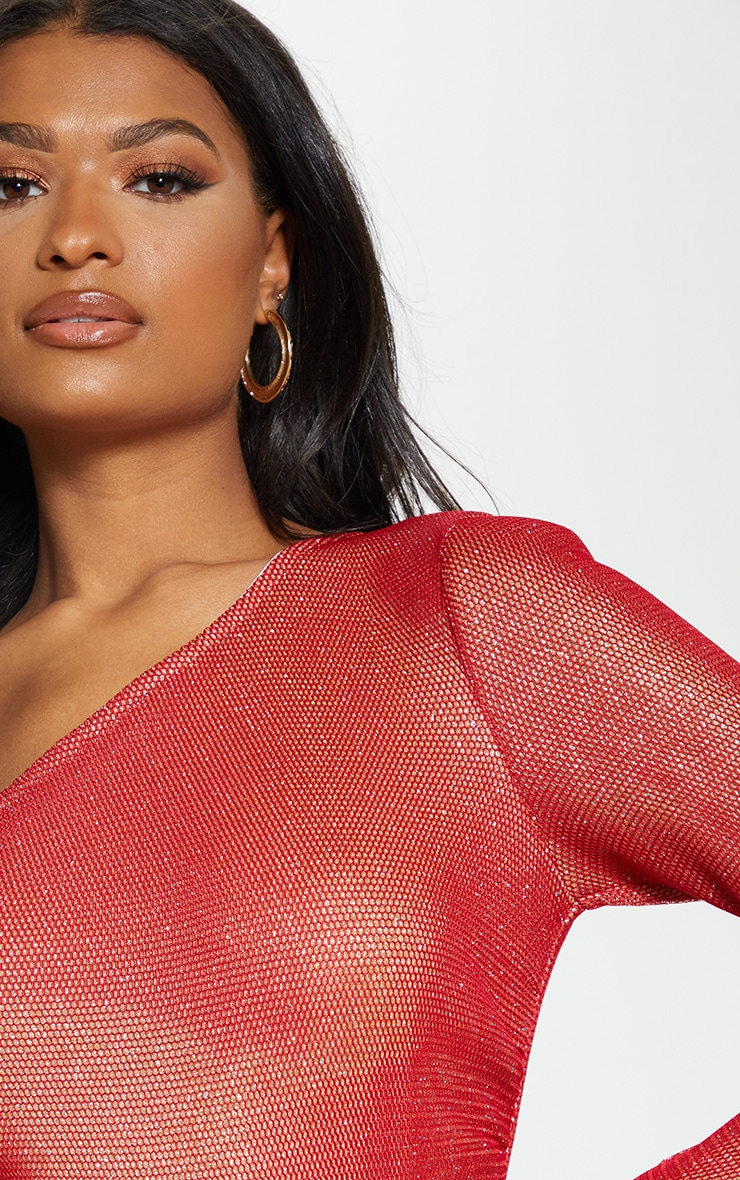 Red One Shoulder Glitter Mesh Bodysuit 5