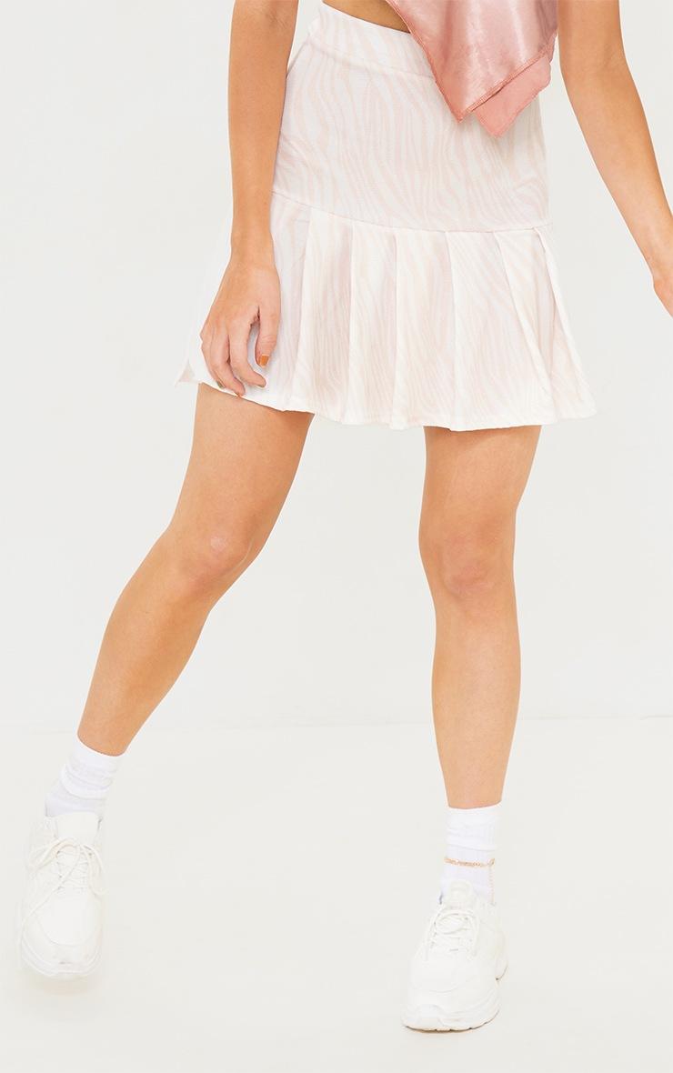 Nude Zebra Pleated Step Hem Mini Skirt 2