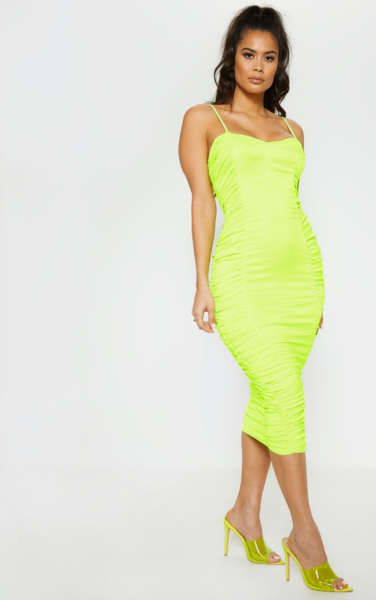 Neon Lime Satin Ruched Midaxi Dress 4