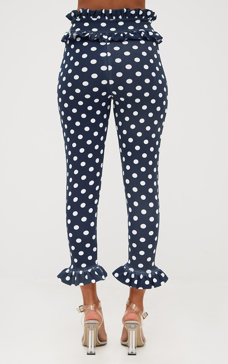 Navy Polka Dot Frill Trim Trousers 4