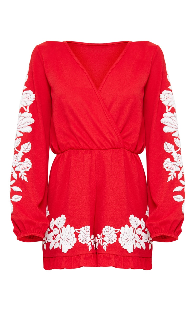 Red Crepe Plunge Puff Printed Playsuit 3