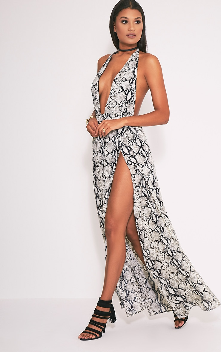 Alina Nude Snake Print Plunge Maxi Dress 1