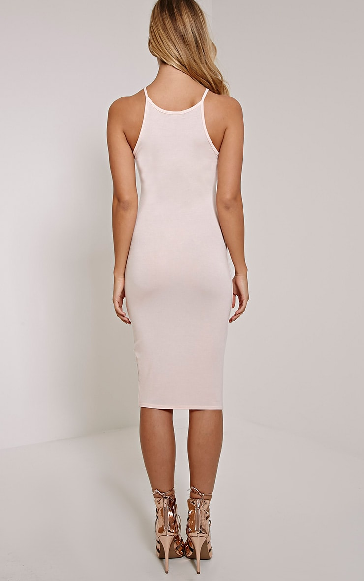 Basic Nude Thin Strap Racer Neck Jersey Midi Dress 2