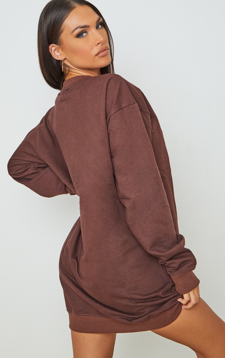 PRETTYLITTLETHING Chocolate Embroided Crew Neck Oversized Sweater Dress 2