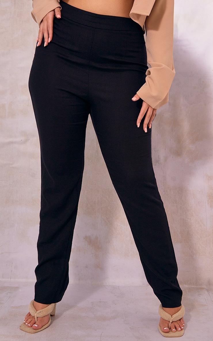 Plus Black Woven Straight Leg Pants 2