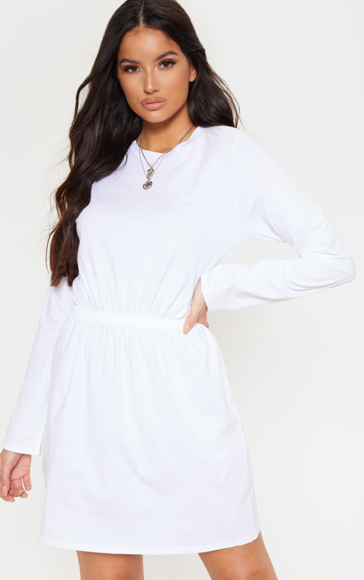 White Elasticated Waist Long Sleeve T Shirt Dress 1