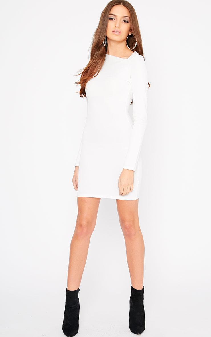 India Cream Slash Neck Bodycon Dress 3
