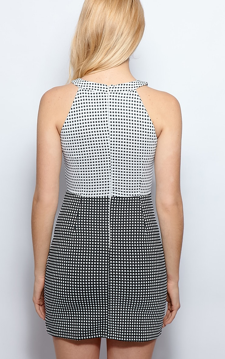 Jen Monochrome Check Cut Out Dress 2
