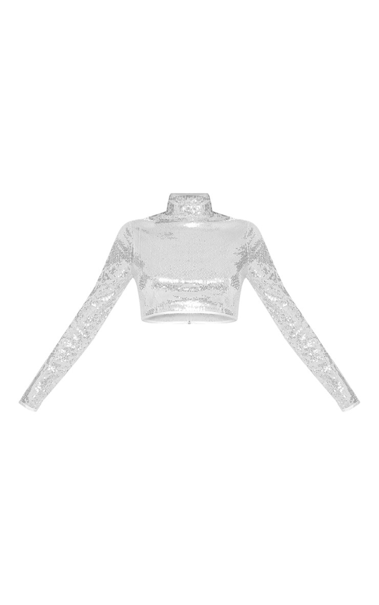 Silver Sequin High Neck Crop Top 4