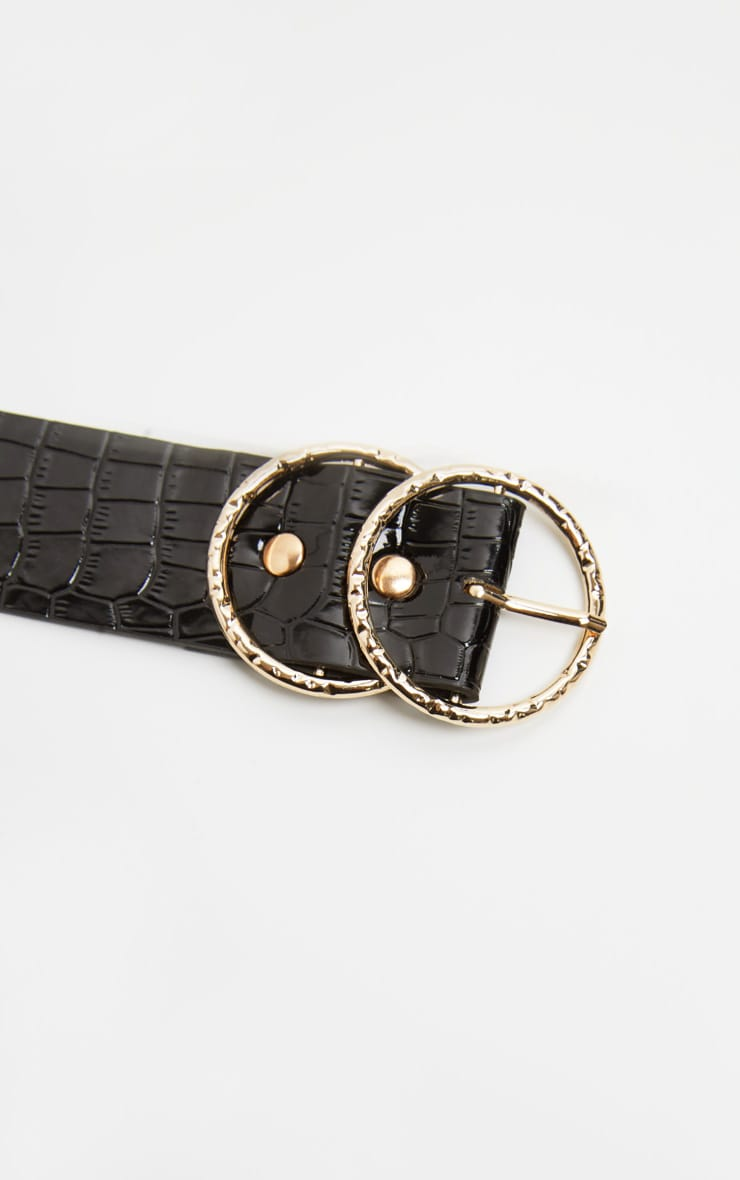 Black Patent Croc Round Buckle Belt 3