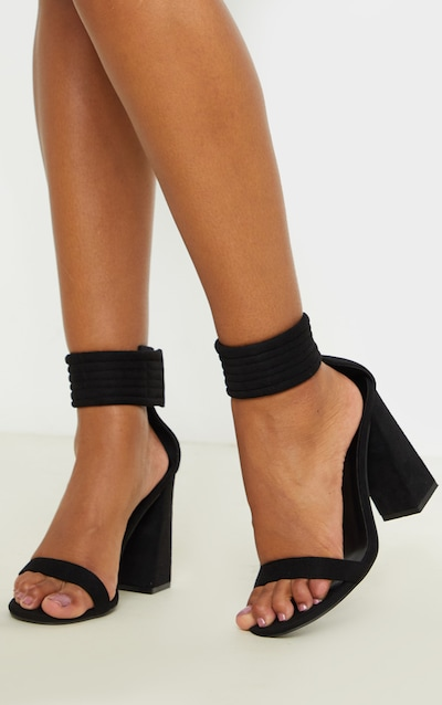 Black Quilted Ankle Cuff Block Heel Sandal