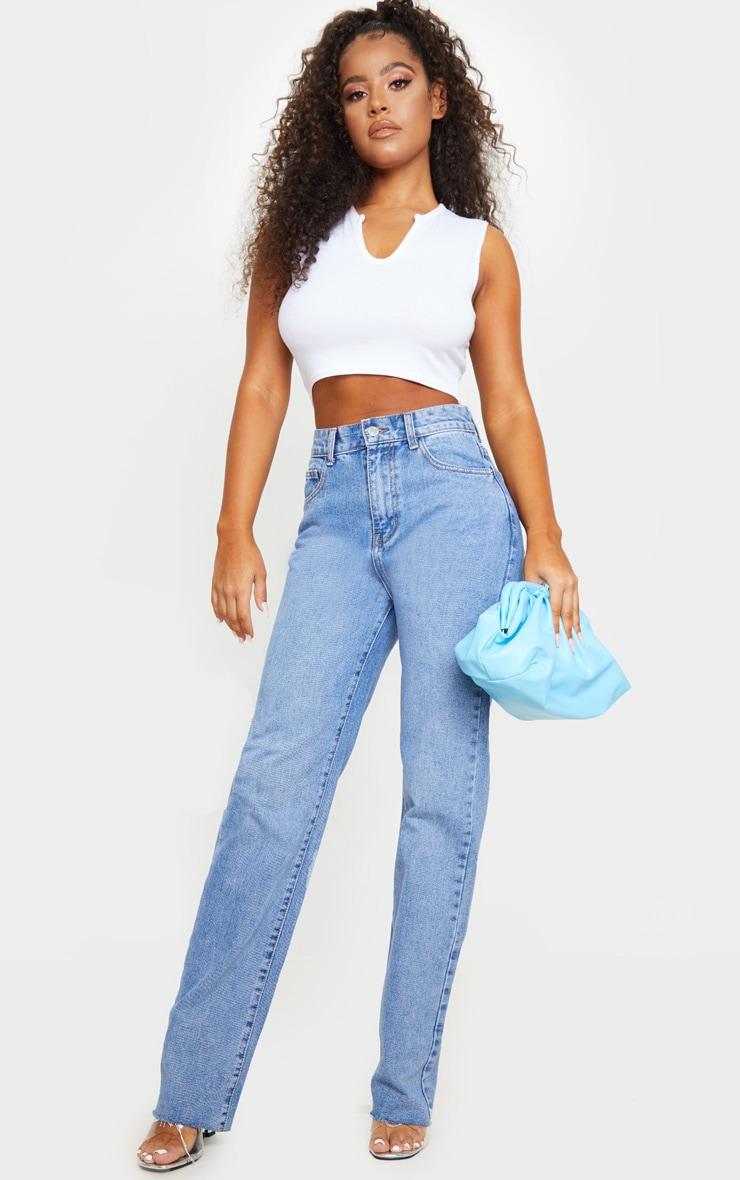 Mid Blue Wash Long Straight Leg Raw Hem Jeans 1