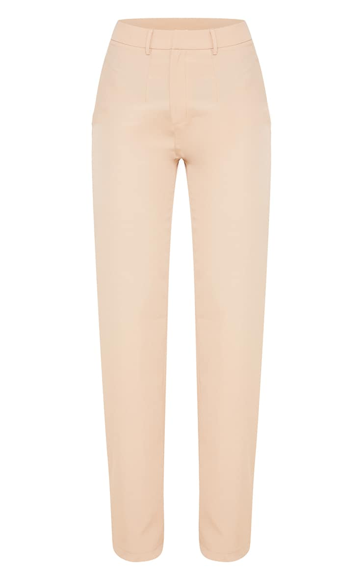 Stone Woven Zip Front Straight Leg Trousers 5