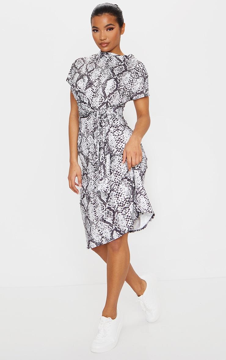 Grey Slinky Snake Print Wrap Detail Shift Midi Dress 3