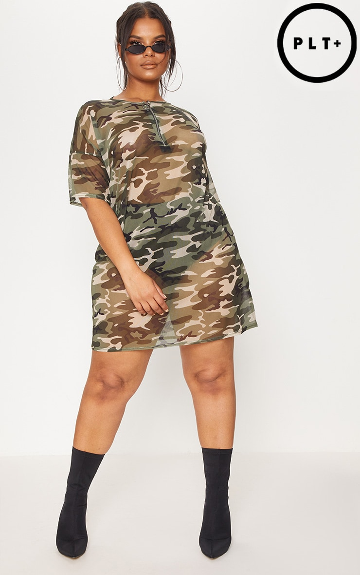 Plus Khaki Camo Mesh Dress 4