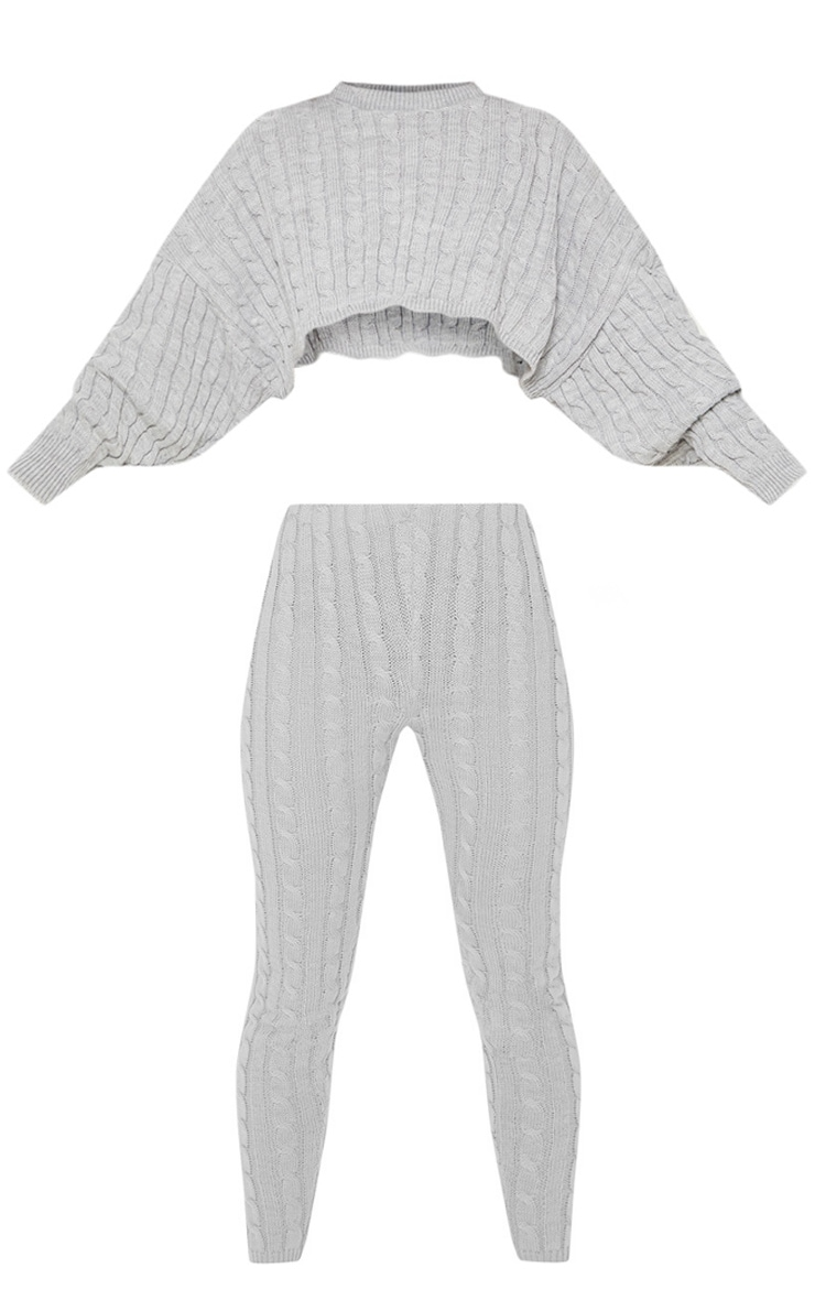 Grey Cable Knit Crop Jumper & Legging Set 3