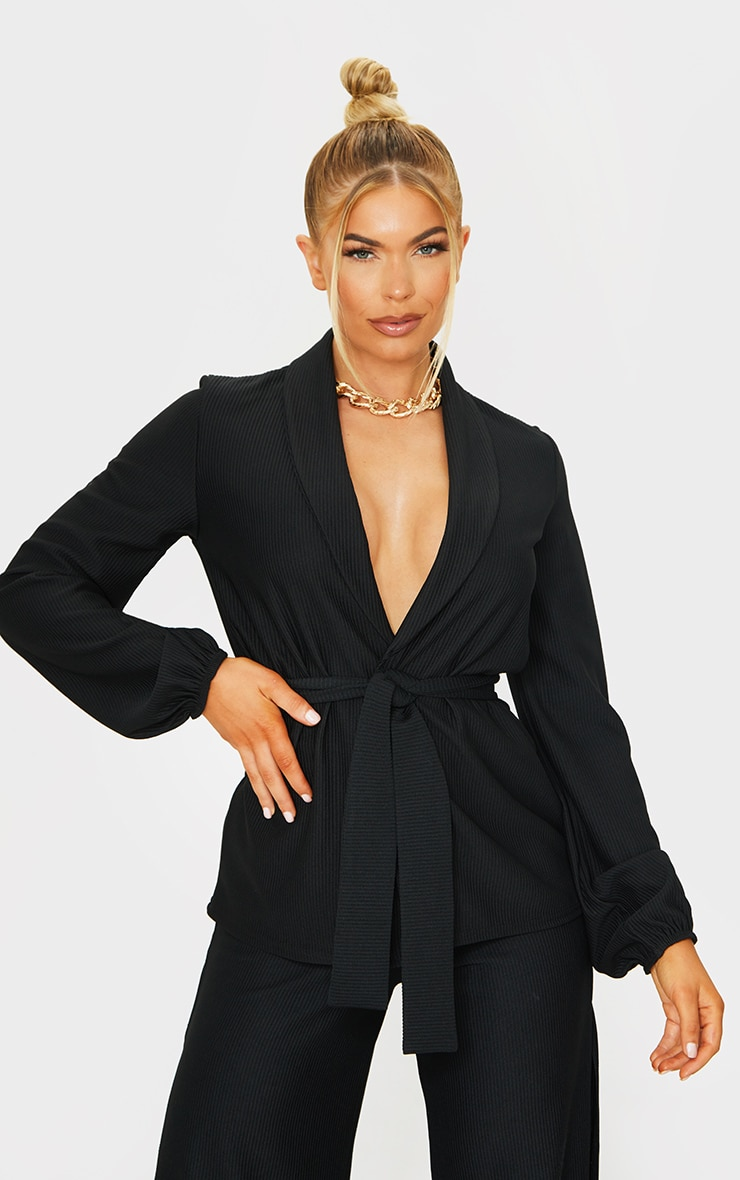Black Wide Rib Belted Balloon Sleeve Blazer 1