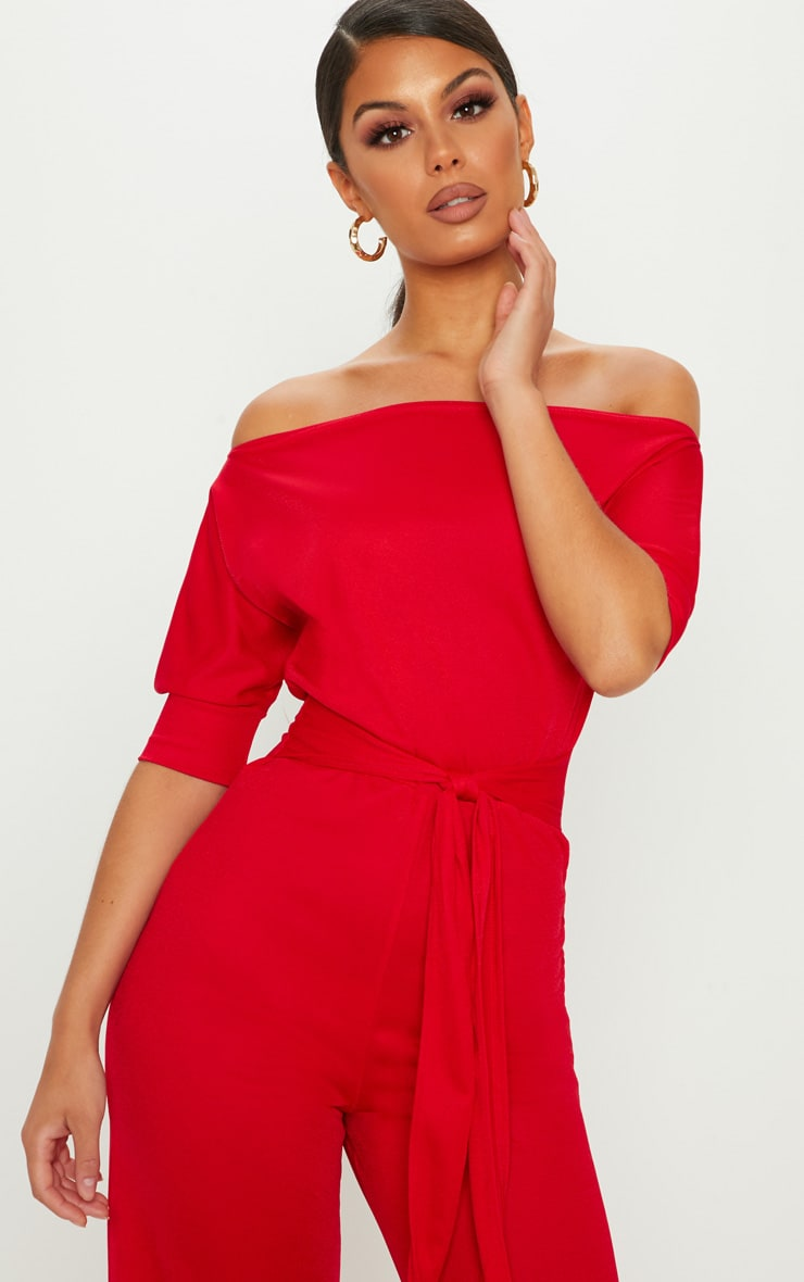Red Off Shoulder Tie Waist Wide Leg Jumpsuit 5