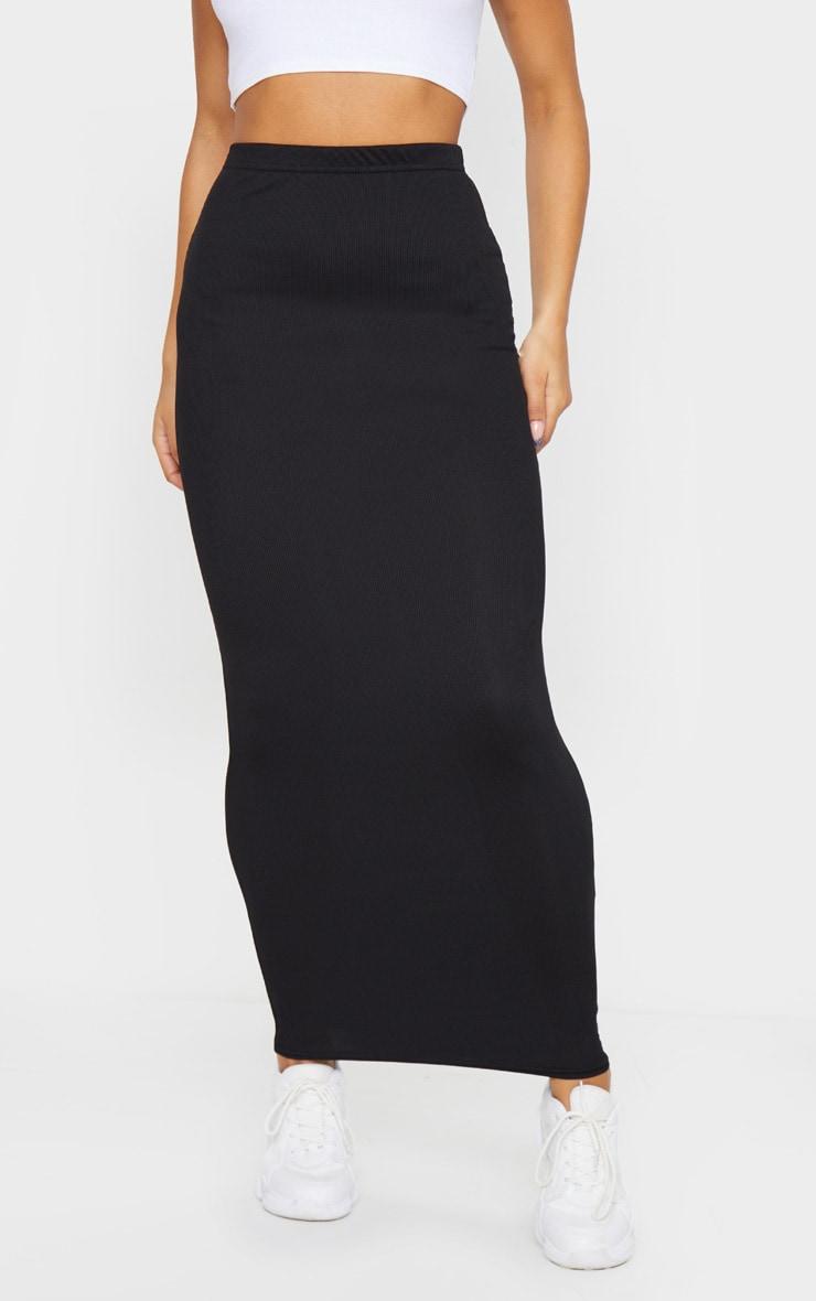 Black Rib Bodycon Midaxi Skirt 2
