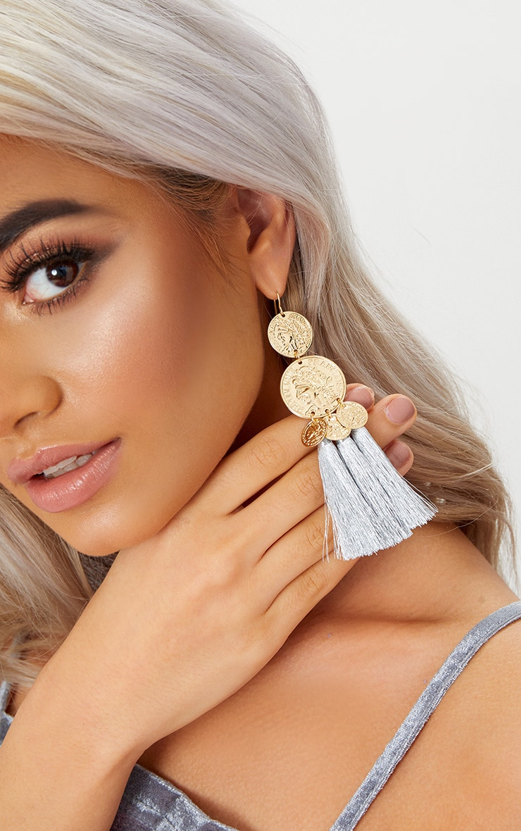 Gold Metallic Coin Drop Silver Tassel Earrings 2