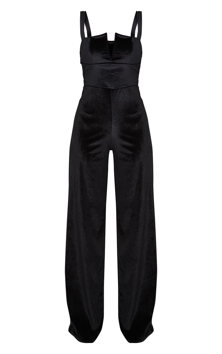 Black Velvet V Bar Strappy Wide Leg Jumpsuit 4