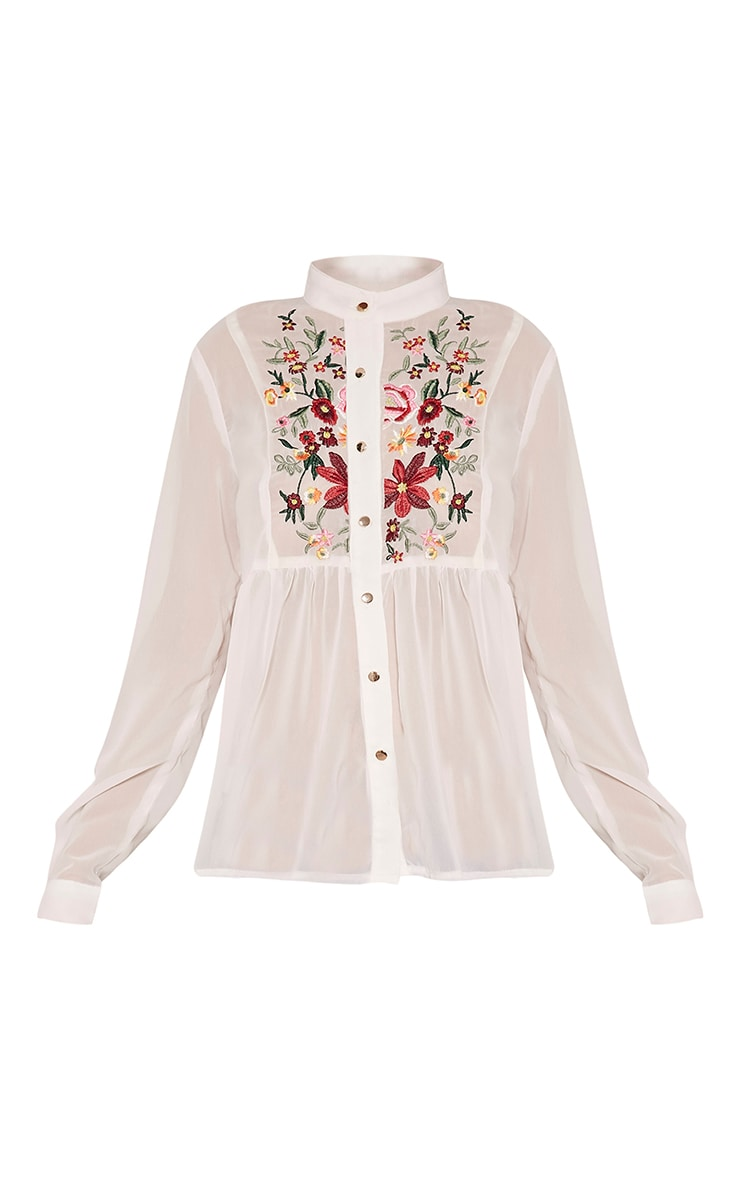 Liara White Embroidered Shirt 5