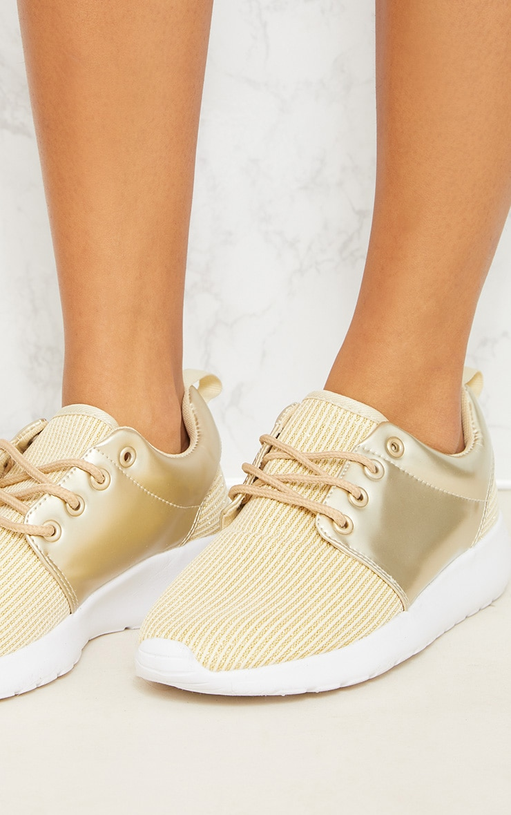 Gold Metallic Ribbed Trainers  5