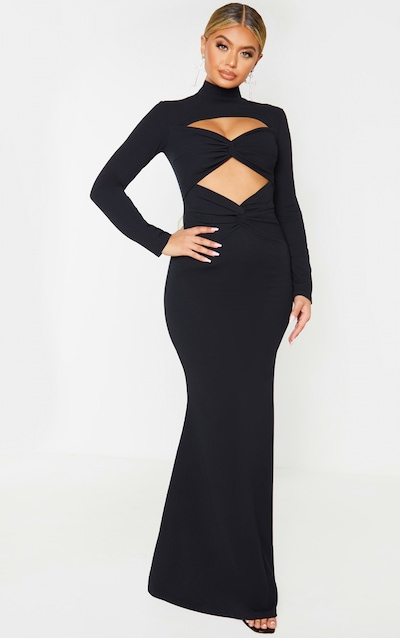 Black Twist Front Long Sleeve Maxi Dress
