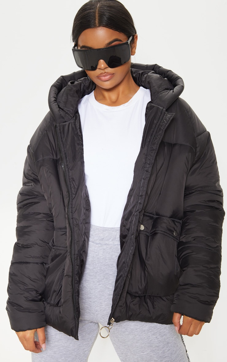 Black Pocket Front Hooded Puffer 1