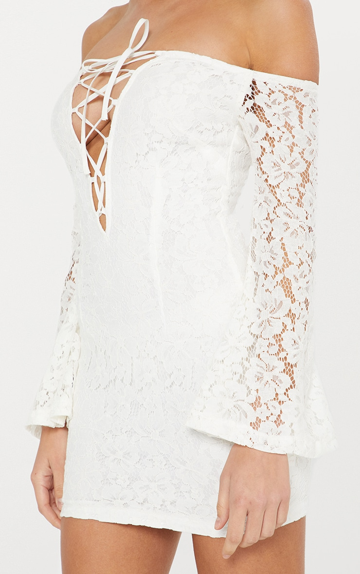 White Lace Bardot Flare Sleeve Bodycon Dress 5