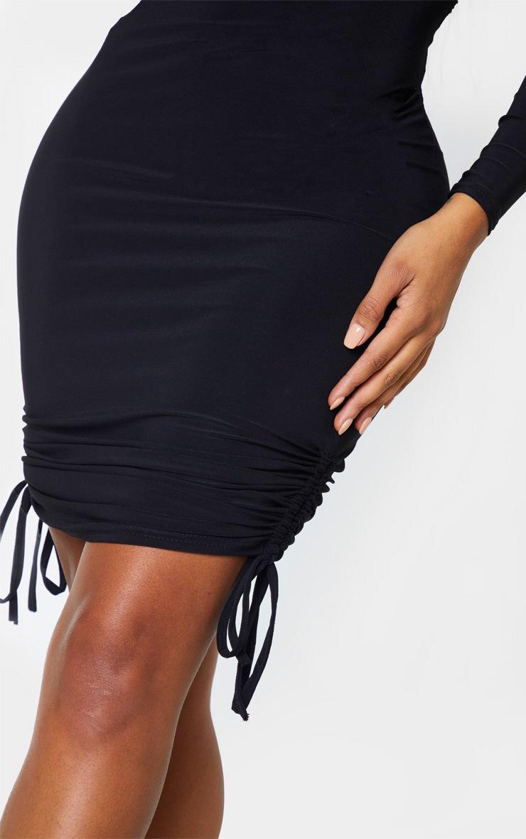 Shape - Robe mi-longue noire froncée à manches longues  5