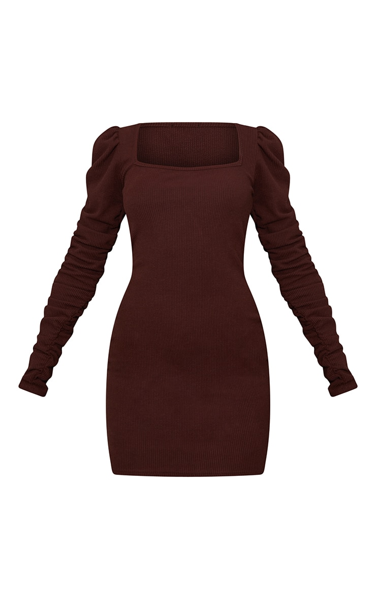 Chocolate Crinkle Rib Ruched Sleeve Square Neck Bodycon Dress 5